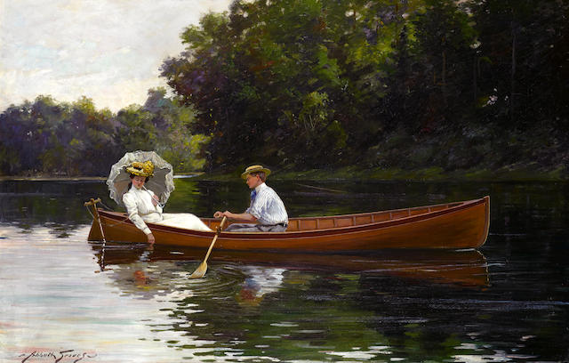 Abbott Fuller Graves (American, 1859-1936) Rowing to Picnic Rock 32 x 46in