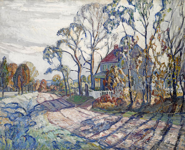 Walter Emerson Baum (American, 1884-1956) House, Road and Trees 25 x 30in