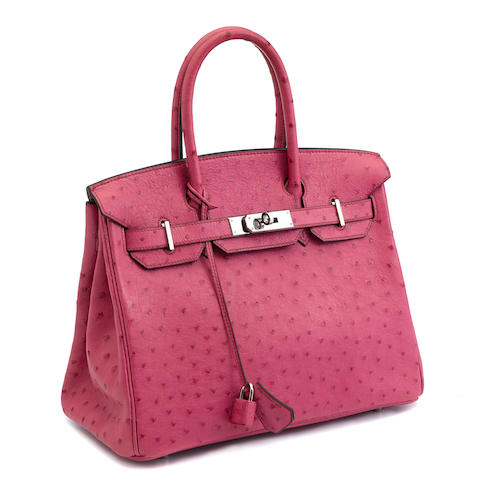 An Hermès pink ostrich Birkin handbag