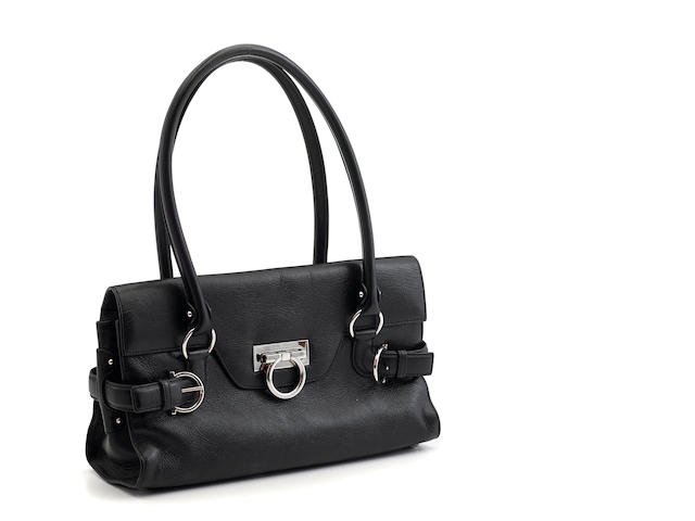 A Salvatore Ferragamo black leather handbag