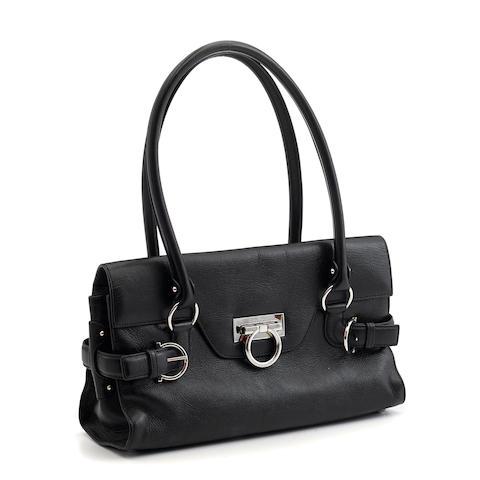 A Salvatore Ferragamo black leather handbag