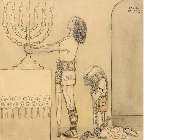 "BAUER, JOHN. 1882-1918. ""Ragmund ställde ljusastaken med de över"" [Ragmund placed the candlestick with the candles, which illuminated seven kingdoms, on the main altar,]"