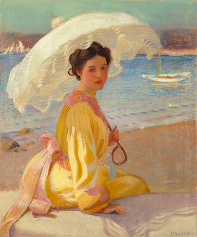 William McGregor Paxton (American, 1869-1941) Girl with the Sea Beyond 30 x 25in