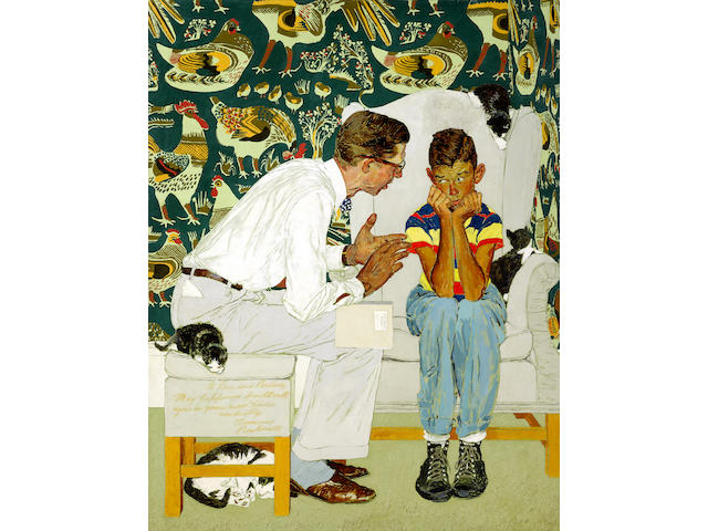 """Norman Rockwell (American, 1894-1978) Study for """"The Facts of Life""""  44 x 33 3/4in"""