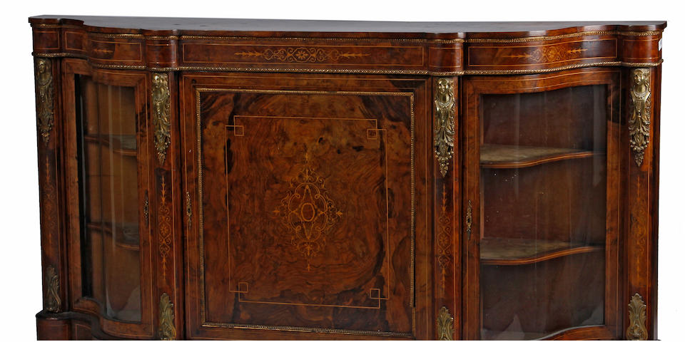 A Victorian gilt bronze mounted marquetry inlaid walnut vitrine  cabinetfourth quarter 19th century