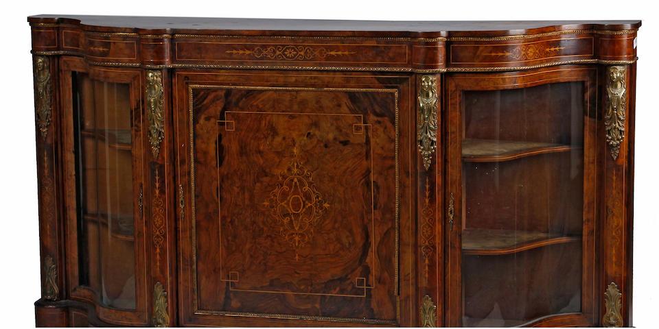 A Victorian gilt bronze mounted marquetry inlaid walnut vitrine  cabinetfourth quarter 19th century