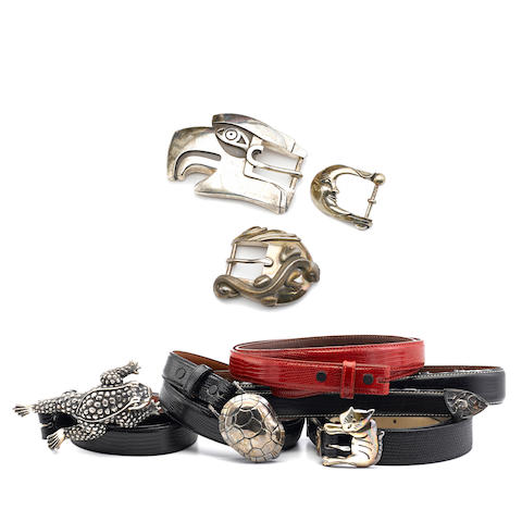 Six Kieselstein-Cord lizard belts and five Kieselstein-Cord sterling silver buckles
