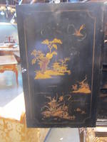 A George II chinoiserie decorated cabinet on stand cabinet 18th century, stand 19th century