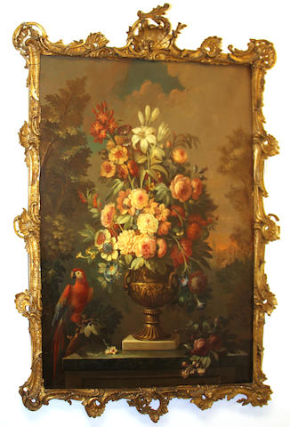 French School, 19th Century A still life with roses and other flowers in an urn with a parrot resting on a branch 47 x 36in