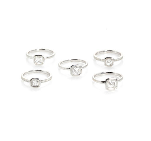 A set of five diamond stacking rings