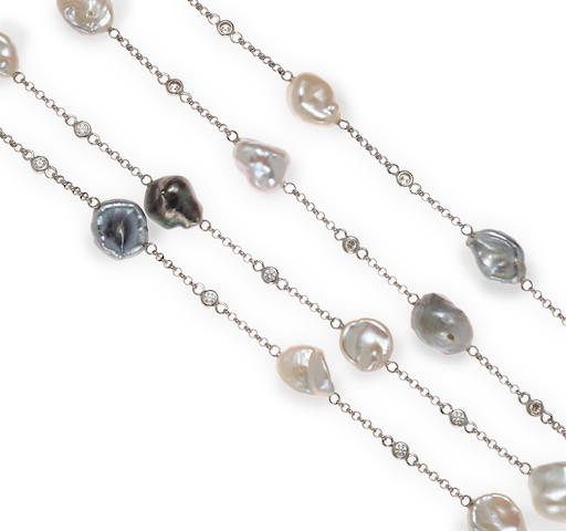 A colored keshi cultured pearl, keshi cultured pearl and diamond longchain