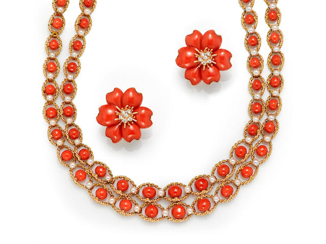 A coral and cultured pearl double-strand necklace, French, together with a pair of coral and diamond flower earrings