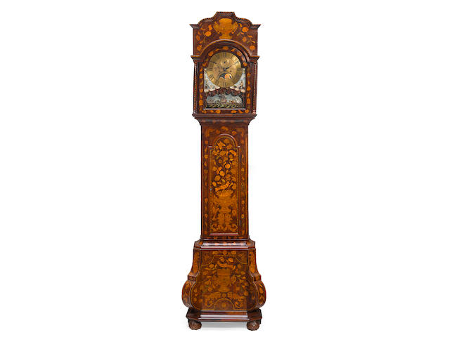 A Dutch floral marquetry walnut tall case clock