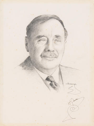 """WELLS, HERBERT GEORGE. 1866-1946.  SWAMY, S.N. Portrait Signed (""""H.G. Wells""""), graphite on paper, 9.5 x 7 inches,"""