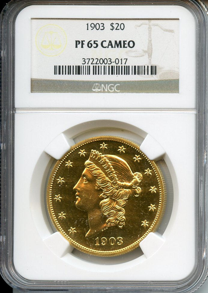 1903 $20 Proof 65 Cameo NGC