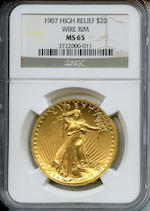 MCMVII (1907) High Relief $20 Wire Rim MS65 NGC