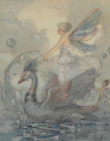 GAZE, HAROLD. 1865-1962. Swan chariot,