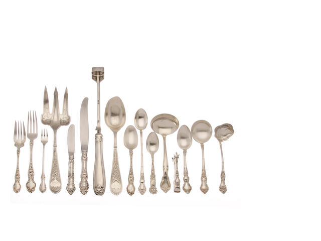 An assembled group of American and English sterling silver flatware by various makers,  19th / 20th century