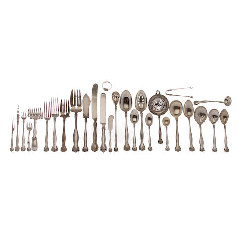 An extensive assembled American sterling silver part flatware service for twelve by Alvin Silver Co., Providence, RI,  20th century