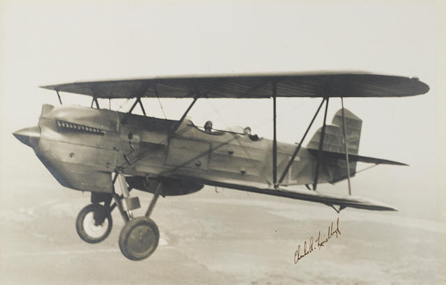 """LINDBERGH, CHARLES. 1902-1974.  Photograph Signed (""""Charles A. Lindbergh""""), 9 1/4 by 13 1/2 inch silver print"""