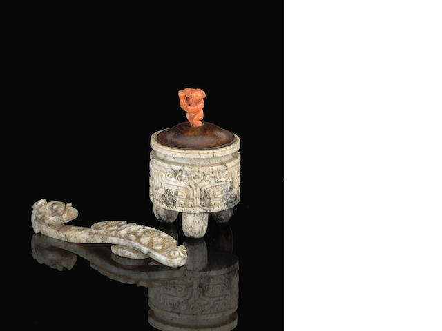 Two jade carvings Late Qing dynasty