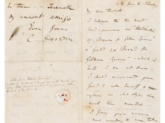 "DARWIN, CHARLES. 1809-1882. Autograph Letter Signed (""C. Darwin""),"