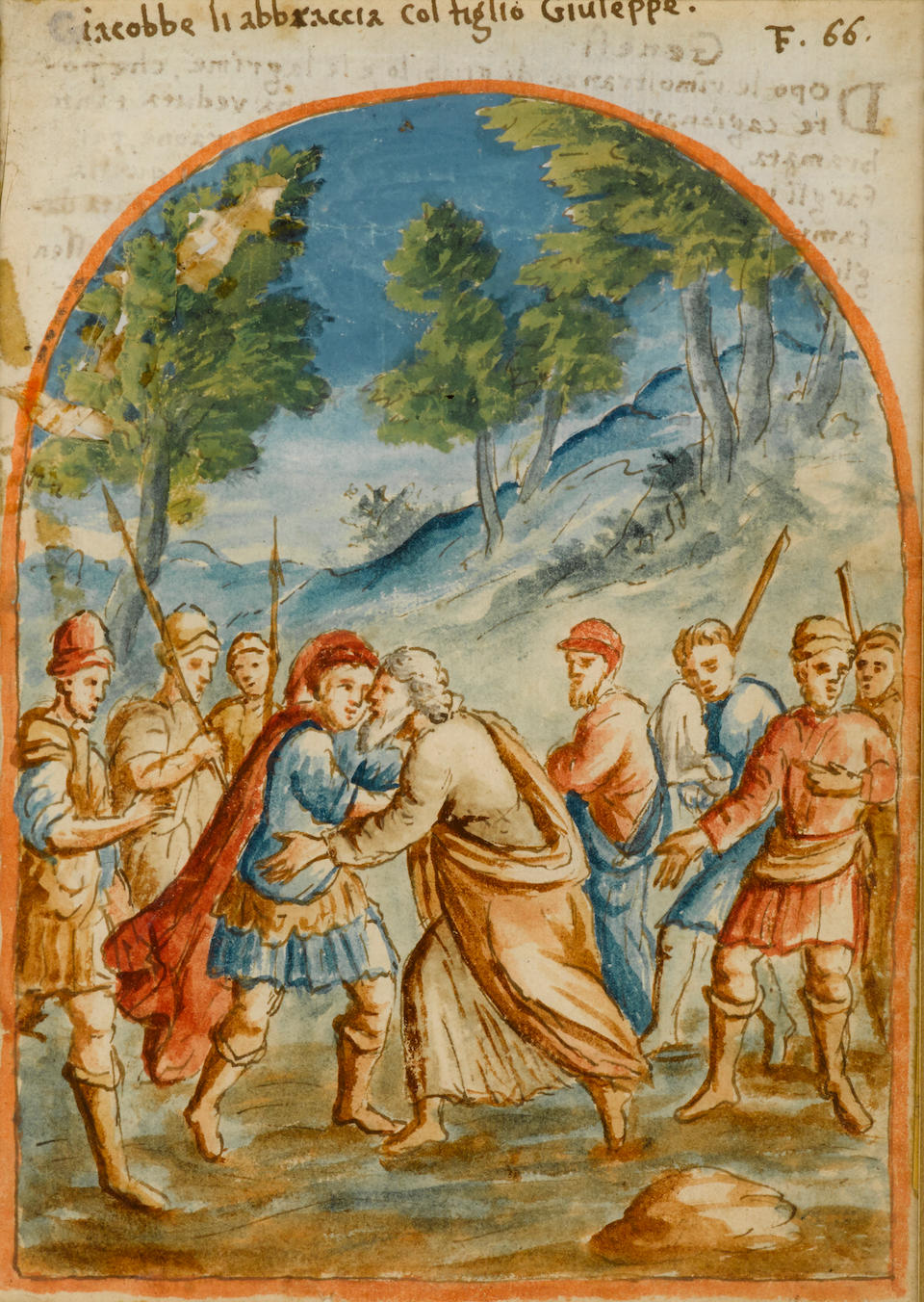 ITALIAN SCHOOL, 17th century A set of six gouaches, scenes from the Bible  each painted in gouache and watercolor with figural scenes in landscape settings within a niche, with Italian inscription above and Italian text on the reverse, later double-sided giltwood frames.