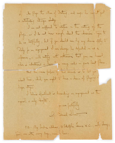 "SHAW, GEORGE BERNARD. 1856-1950. Autograph Letter Signed (""G. Bernard Shaw""), 2 pp, 8vo, Alness, Ross-shire, August 13, 1904,"