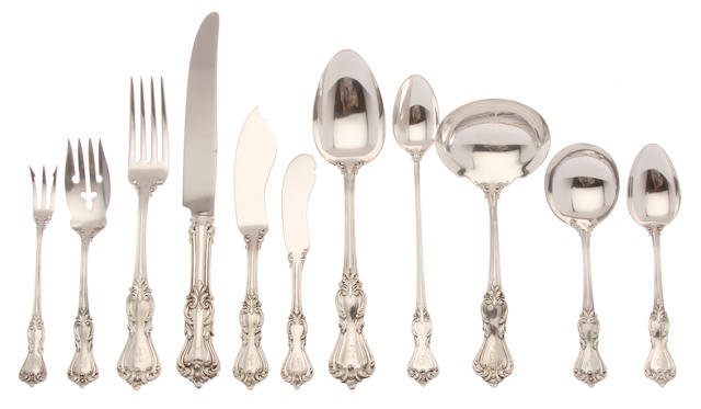 An American sterling silver part flatware service for eight by Reed & Barton, Taunton, MA 20th century