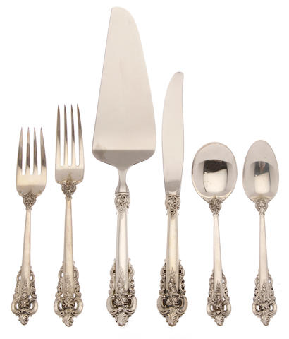 An American sterling silver part flatware service for twelve by Wallace Silversmiths, Inc., Wallingford, CT, 20th century