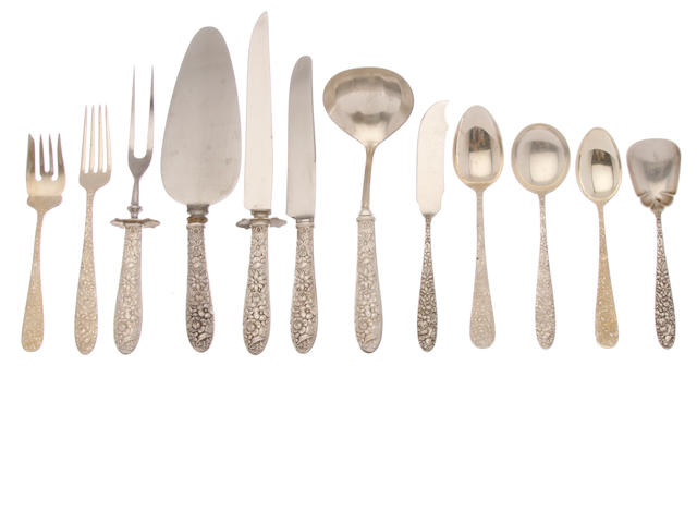 An assembled American sterling silver floral-decorated part flatware service for twelve by the Steiff Company, Baltimore, MD; and Manchester Silver Co., Providence, RI,  20th century
