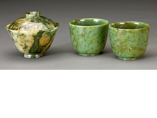 Three small jade vessels