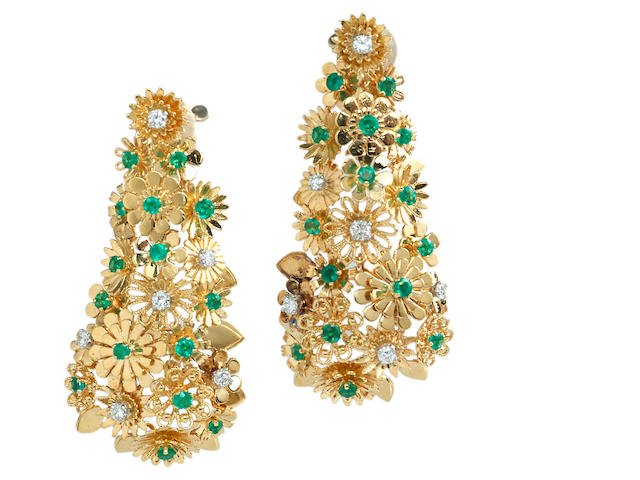 A pair of diamond and emerald earrings, Cartier, French