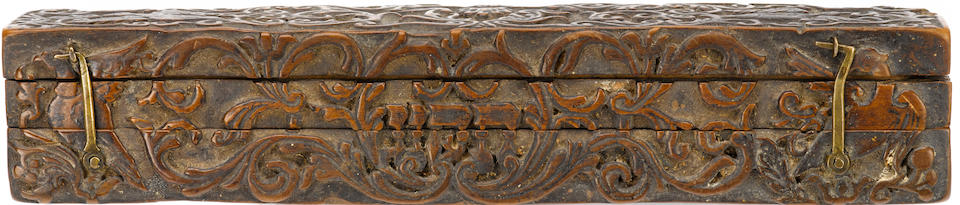 A Polish (Galician) brit milah (circumcision) set knife, 1794; wooden engraved case 1793 the box completely hand-carved of sandalwood;