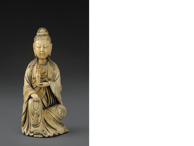 An ivory seated Guanyin Late Qing dynasty
