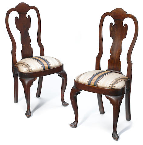 A pair of Queen Anne walnut compass-seat side chairs Pennsylvania, second quarter 18th century