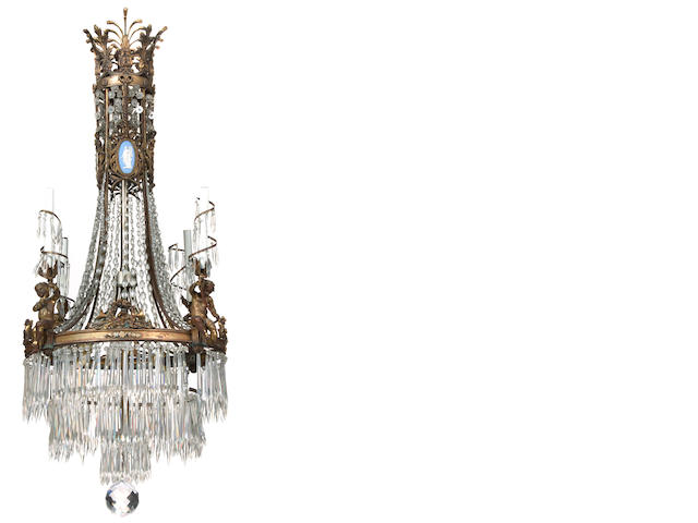 A Neoclassical style gilt bronze, cut glass and jasperware mounted four light chandelier