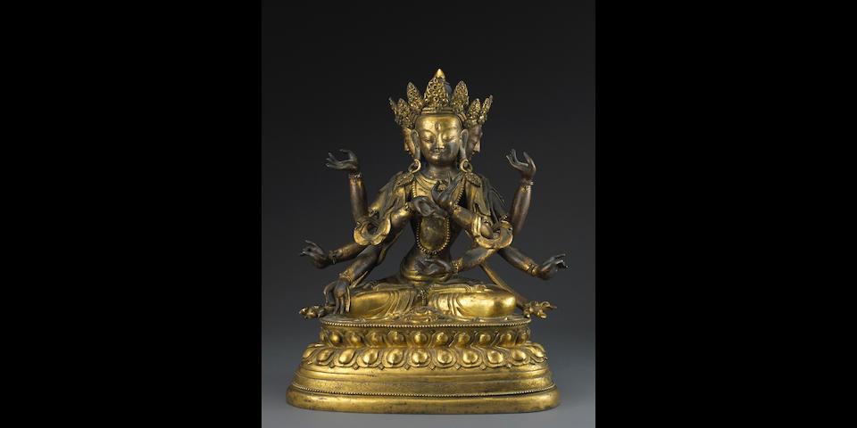 A gilt bronze figure of Ushnishavijaya 18th century