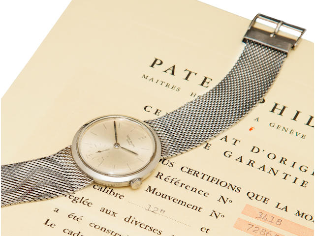 Patek Philippe. A fine and rare stainless steel bracelet watchRef:3418, Case no. 2606076, Movement no. 728654, sold 1961