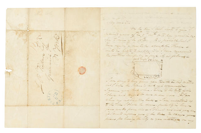 "COLE, THOMAS. 1801-1848. Autograph Letter Signed (""Thomas Cole""), 2 pp recto and verso, 4to (conjoined address leaf), Catskill, July 19, 1838, to J.P. Ridner of Greenwich, NY,"