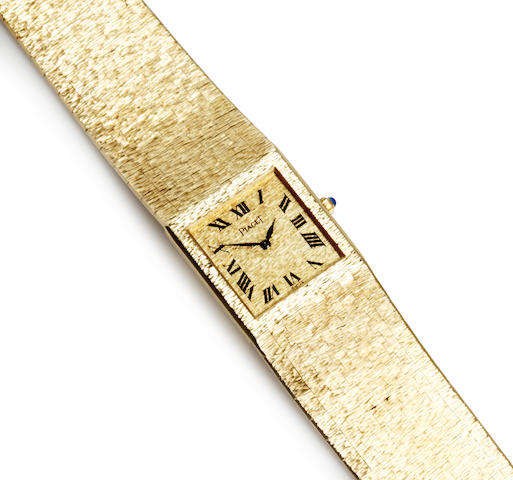 An eighteen karat gold integral bracelet wristwatch, Piaget,