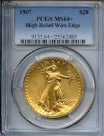 MCMVII (1907) High Relief $20 Wire Rim MS64+ PCGS