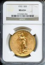 1922 $20 MS65+ NGC