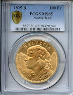 Switzerland 1925-B Gold 100 Francs MS65 PCGS