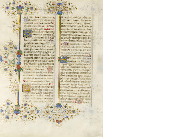 LEAVES—LLANGATTOCK BREVIARY. Illuminated manuscript leaf in Latin