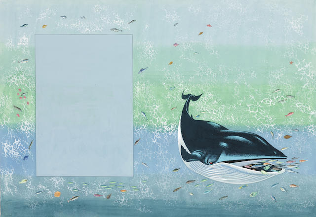 BAYNES, PAULINE. 1922-2008. Suite of 14 illustrations for How the Whale Got His Throat, gouache, watercolor and pencil, 12 measure 237 x 342 mm, 1 283 x 403 mm, and 2 238 x 172 mm, one with tissue guard showing text placement & production markings.