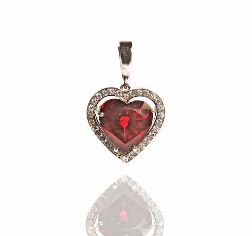 A garnet and diamond heart pendant
