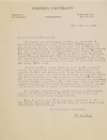 "NABOKOV, VLADIMIR. 1899-1977. Typed Letter Signed (""V. Nabokov""),"