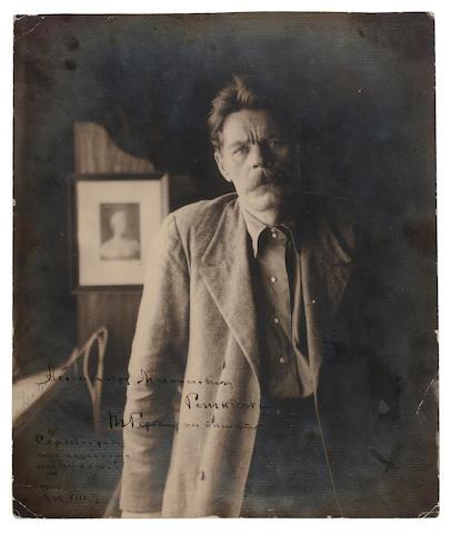 "GORKY, MAXIM (ALEKSEI MAKSIMOVICH PESHKOV). 1868-1936. Photograph signed (""Maxim Gorky"" [in Cyrillic])"