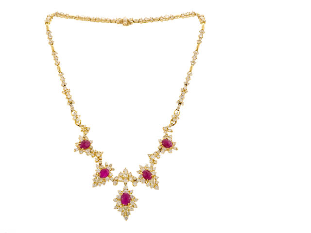 A ruby and diamond choker necklace